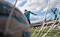 Near Miss as players fires shots at the Stars during The Impractical Jokers (Hit US TV Comedy) filming at Wycombe Wanderers FC at Adams Park, High Wycombe, England on 5 April 2016. Photo by Andy Rowland.