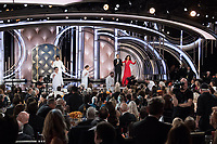 Andy Samberg and Sandra Oh host the 76th Annual Golden Globe Awards at the Beverly Hilton in Beverly Hills, CA on Sunday, January 6, 2019.<br /> *Editorial Use Only*<br /> CAP/PLF/HFPA<br /> Image supplied by Capital Pictures