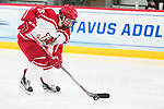 ADRIAN, MI - MARCH 18: Melissa Sheeran (26) of Plattsburgh State University skates with the puck during the Division III Women's Ice Hockey Championship held at Arrington Ice Arena on March 19, 2017 in Adrian, Michigan. Plattsburgh State defeated Adrian 4-3 in overtime to repeat as national champions for the fourth consecutive year. by Tony Ding/NCAA Photos via Getty Images)