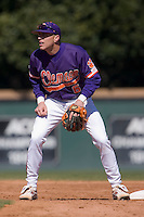 Shortstop Stan Widman (6) of the Clemson Tigers waits for a throw between innings versus the Wake Forest Demon Deacons during the first game of a double header at Gene Hooks Stadium in Winston-Salem, NC, Sunday, March 9, 2008.