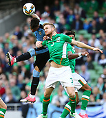 June 4th 2017, Aviva Stadium, Dublin, Ireland; International Friendly, Ireland versus Uruguay;  José Giménez of Uruguay wins the ball from Pearce and sends his header towards the Irish goal