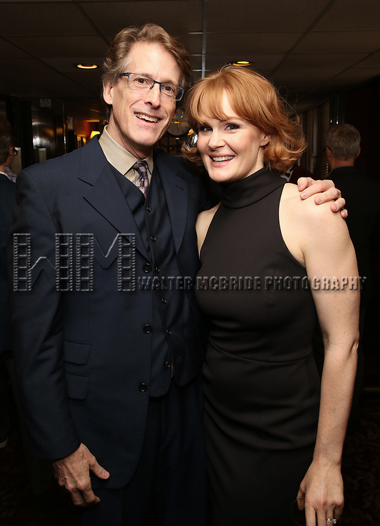 Dick Scanlan and Kate Baldwin attends the The Robert Whitehead Award presented to Mike Isaacson at Sardi's on May 10, 2017 in New York City.