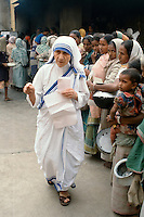 Mother Teresa of Calcutta (Mother Theresa) at her mission to aid poor, starving and suffering people in Calcutta, India