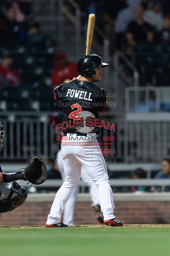 El Paso Chihuahuas center fielder Boog Powell (2) during a Pacific Coast League game against the Albuquerque Isotopes at Southwest University Park on May 10, 2019 in El Paso, Texas. Albuquerque defeated El Paso 2-1. (Zachary Lucy/Four Seam Images)