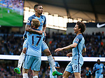 Gabriel Jesus of Manchester City celebrates scoring the first goal with Kevin De Bruyne of Manchester City during the English Premier League match at the Etihad Stadium, Manchester. Picture date: May 16th 2017. Pic credit should read: Simon Bellis/Sportimage