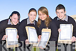 Killarney Community College students l-r: Sarah O'Keeffe, Siobhain McGillicuddy, Anna Szczygiel and Keith Flynn celebrate their great results in the Junior Cert on Wednesday