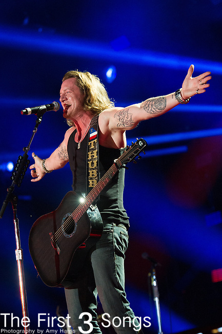 Tyler Hubbard of Florida Georgia Line performs at LP Field during Day Three of the 2014 CMA Music Festival in Nashville, Tennessee.