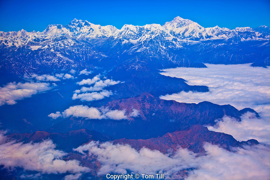 Mt. Everest and surrounding peaks, Sagamatha National Park, Nepal. World's highest mountain, Himalaya Mountains
