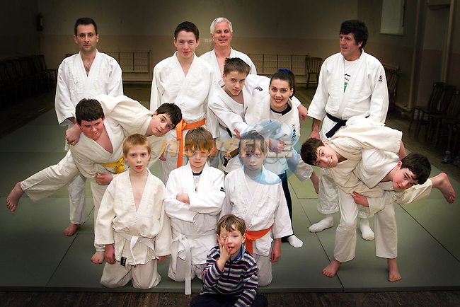 Back row L/R Gean Audren, Owen Curry, Peter Leahy and Jack Dennis (3rd dan). Middle Row L/R, Terence Dunne, Warren Leahy, Paul Bolger, Elizabeth Dennis, Ross Leahy and Brian Fay. Front Row L/R, Anthony Conlon, Andrew Monahan, Tristan Audren and Anthony Butterly of the Judo Club..Picture: Paul Mohan/Newsfile