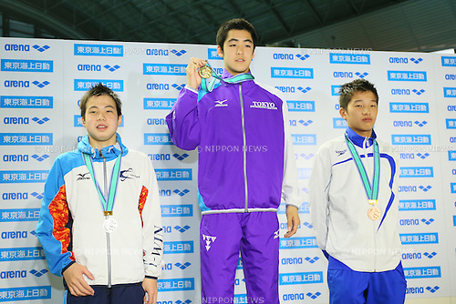 (L to R) <br /> Taiyo Hayashi, <br /> Yamato Hiraishi, <br /> Yamato Fukasawa, <br /> MARCH 29, 2015 - Swimming : <br /> The 37th JOC Junior Olympic Cup <br /> Men's 200m Breaststroke <br /> 13-14 years old award ceremony <br /> at Tatsumi International Swimming Pool, Tokyo, Japan. <br /> (Photo by YUTAKA/AFLO SPORT)