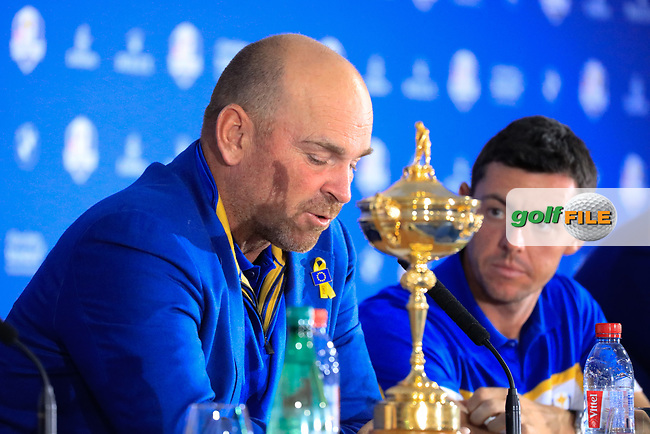 Thomas Bjorn (Team Europe Captain) during media interview after the sunday singles at the Ryder Cup, Le Golf National, Paris, France. 30/09/2018.<br /> Picture Phil Inglis / Golffile.ie<br /> <br /> All photo usage must carry mandatory copyright credit (© Golffile   Phil Inglis)