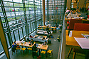 Students study in the Brodhead Center on a soggy spring morning.