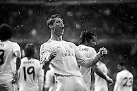 Real Madrid player Cristiano Ronaldo celebrates a goal during a first leg quarterfinal Champions League soccer match between Real Madrid and Borussia Dortmund at Santiago Bernabeu stadium in Madrid, Spain. January 06, 2014. (ALTERPHOTOS/Victor Blanco)(EDITORS NOTE: This image has been converted to black and white)