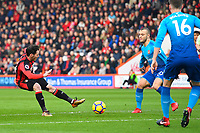 Adam Smith of AFC Bournemouth has a n early first half shot during AFC Bournemouth vs Arsenal, Premier League Football at the Vitality Stadium on 14th January 2018