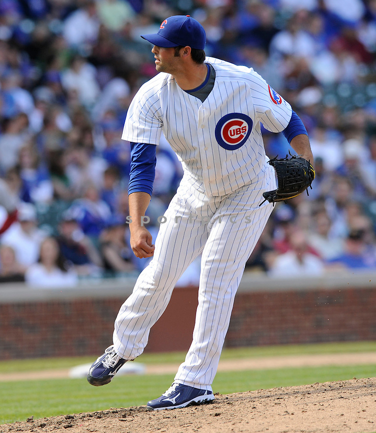 JUSTIN BERG, of the Chicago Cubs, in action during the Cubs game against the Arizona Diamondbacks at  Wrigley Field in Chicago, IL  on April 29, 2010...The Arizona Diamondbacks  win 13-5.
