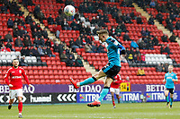 Ashley Hunter of Fleetwood Town heads on goal during the Sky Bet League 1 match between Charlton Athletic and Fleetwood Town at The Valley, London, England on 17 March 2018. Photo by Carlton Myrie.