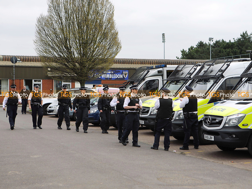 Police start arriving at AFC Wimbledon in readiness for the match during AFC Wimbledon vs MK Dons, Sky Bet EFL League 1 Football at the Cherry Red Records Stadium on 14th March 2017