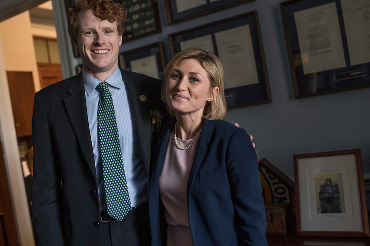 UNITED STATES - MARCH 17: Rep. Joe Kennedy, D-Mass., and his intern Jennifer Fox, are interviewed about how the Affordable Care Act helped cover her medical bills, March 17, 2017. She was treated for Hodgkin's lymphoma and has been cancer free for 4 years. (Photo By Tom Williams/CQ Roll Call)