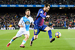 Lionel Messi of FC Barcelona (R) fights for the ball with Emre Colak of RC Deportivo La Coruna (L) during the La Liga 2017-18 match between FC Barcelona and Deportivo La Coruna at Camp Nou Stadium on 17 December 2017 in Barcelona, Spain. Photo by Vicens Gimenez / Power Sport Images