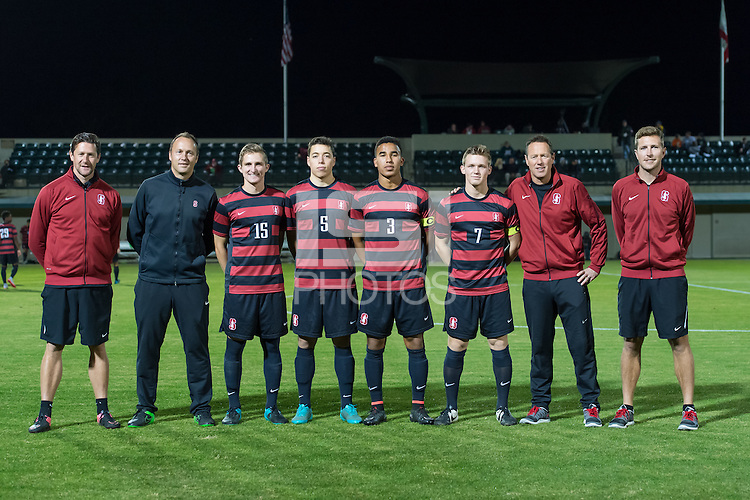 Stanford, CA - November 12, 2015: Seniors in Senior Day Ceremonies before the Stanford vs Cal Men's soccer match in Stanford, California.  The Cardinal defeated the Bears 1-0.