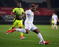 Pictured: Tyler Reid of Swansea City crosses the ball Monday 15 May 2017<br /> Re: Premier League Cup Final, Swansea City FC U23 v Reading U23 at the Liberty Stadium, Wales, UK