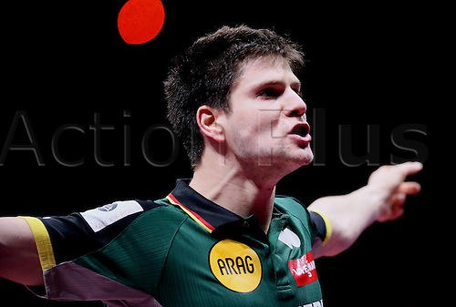 05.05.2014. Tokyo, Japan.  Dimitrij Ovtcharov of Germany celebrates after defeating Zhang Jike of China during the mens group final match in Zen Noh 2014 World Table Tennis Championships in Tokyo, Japan, May 5, 2014. Germany lost 1-3.