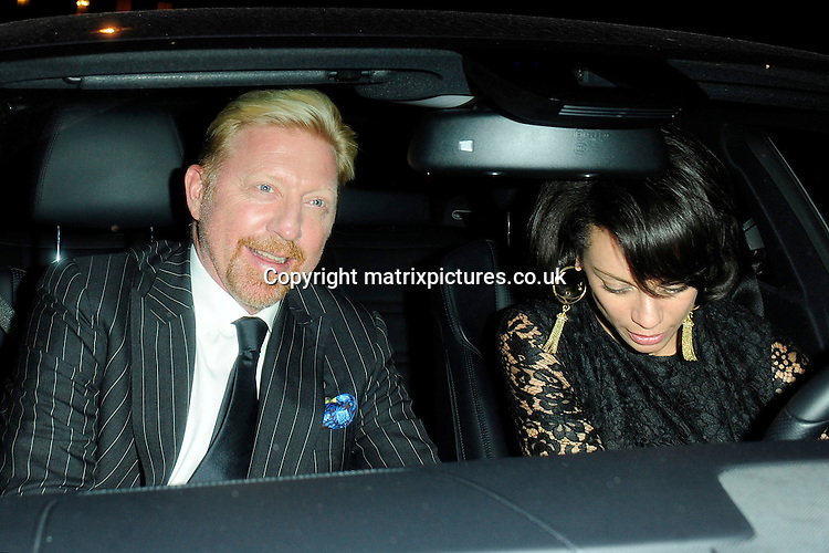 NON EXCLUSIVE PICTURE: MATRIXPICTURES.CO.UK<br /> PLEASE CREDIT ALL USES<br /> <br /> WORLD RIGHTS<br /> <br /> German former tennis player Boris Becker and his wife Lilly attending a private dinner party for Eva Longoria, held by businessman John Caudwell at his residence in London, on the eve of her Annual Global Gift Gala event. <br /> <br /> As Boris and Lilly left the party, she removed her shoes and handed them to Boris, much to his amusement, so that she could drive safely out of heels<br /> <br /> NOVEMBER 18th 2013<br /> <br /> REF: ASI 137462