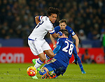 Loic Remy of Chelsea tackled by Christian Fuchs of Leicester City - English Premier League - Leicester City vs Chelsea - King Power Stadium - Leicester - England - 14th December 2015 - Picture Simon Bellis/Sportimage