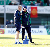 17th November 2019; The Sportsground, Galway, Connacht, Ireland; European Rugby Champions Cup, Connacht versus Montpellier; Connacht head coach Andy Friend speaks with strength and conditioning coach Jonny O'Connor during the warm up - Editorial Use