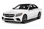 2019 Mercedes Benz C-CLass 43-AMG 4 Door Sedan angular front stock photos of front three quarter view