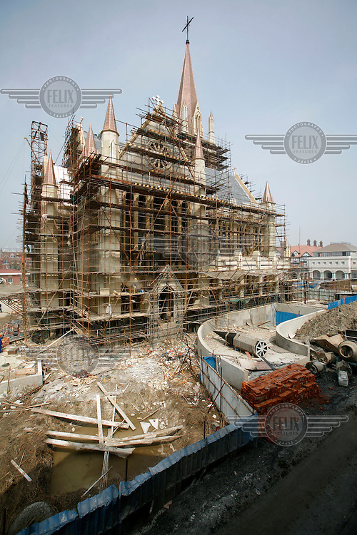 A church under construction in the European themed Thames Town. The settlement was designed by British architectural firm, Atkins..