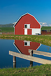 The Palouse, Whitman County, WA: Red barn and pond reflection