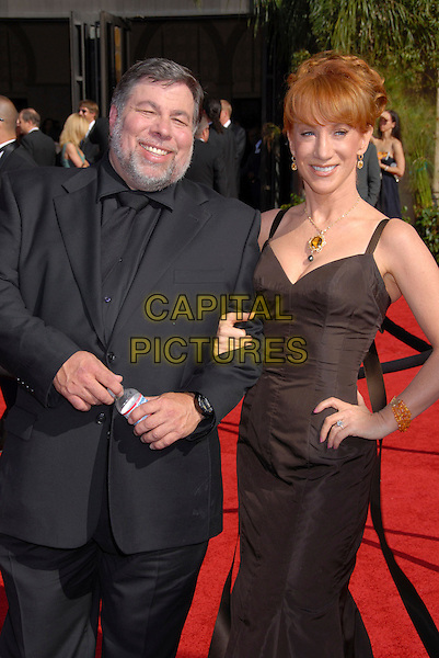 STEVE WOZNIAK & KATHY GRIFFIN.Arrivals - 59th Annual Primetime Emmy Awards held at the Shrine Auditorium, Los Angeles, California , USA,.16 September 2007..half length black dress hand on hip suit.P/ADM/BP.©Byron Purvis/AdMedia/Capital Pictures.
