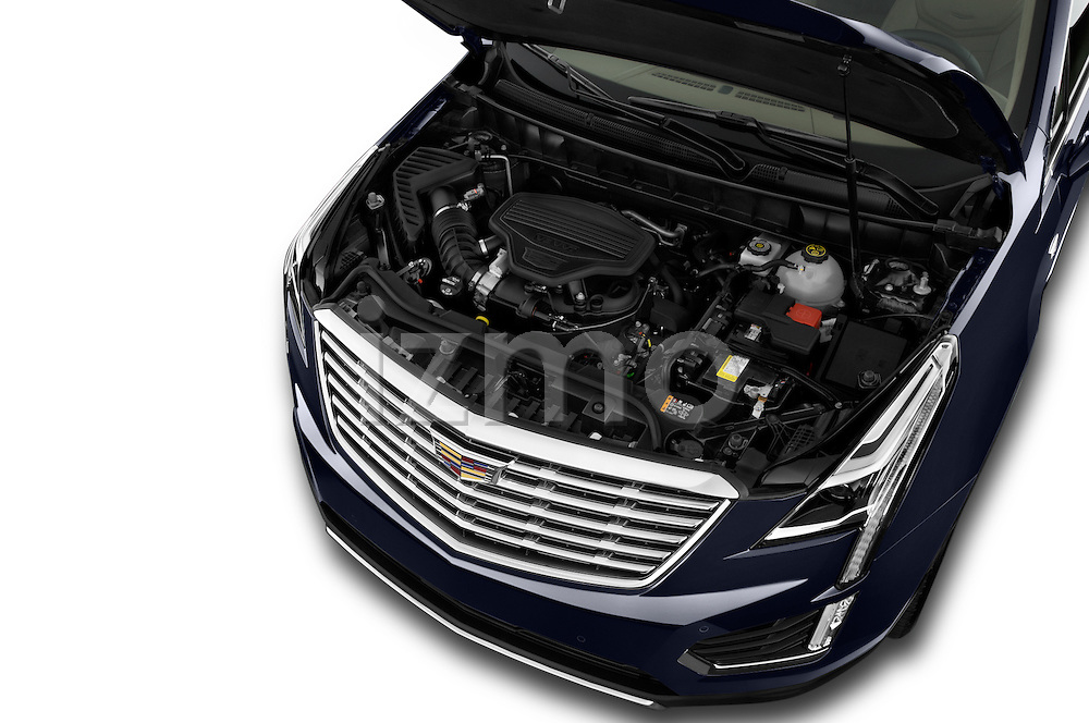 Car Stock 2018 Cadillac XT5 AWD-Platinum 5 Door SUV Engine  high angle detail view
