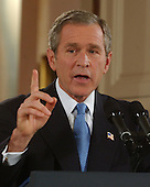 United States President George W. Bush conducts a prime time press conference from the East Room at the White House in Washington, DC on October 11, 2001.  In his remarks the President asked for continued support in the war against terrorism.<br /> Credit: Ron Sachs / CNP