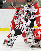 Sarah Appleton (BU - 16), Kelly Wallace (NU - 5), Alissa Fromkin (BU - 30) - The Northeastern University Huskies defeated the Boston University Terriers in a shootout after being tied at 4 following overtime in their Beanpot semi-final game on Tuesday, February 2, 2010 at the Bright Hockey Center in Cambridge, Massachusetts.