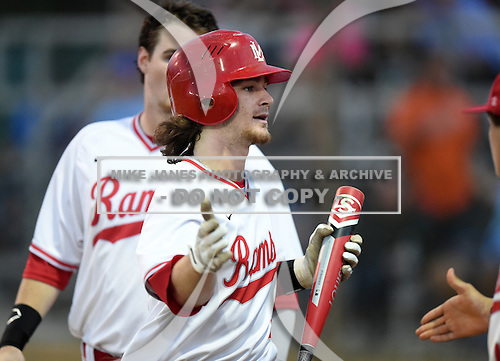 Lake Mary Rams shortstop Brendan Rodgers (3) is congratulated on his way back to the dugout after hitting a home run during a game against the Lake Brantley Patriots on April 2, 2015 at Allen Tuttle Field in Lake Mary, Florida.  Lake Brantley defeated Lake Mary 10-5.  (Mike Janes Photography)