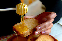 Ragazza mentre fa colazione con fette biscottate e miele..Girl eat rusk with honey for breakfast...