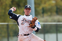 16 October 2010: Yann Dal Zotto of Savigny throws the ball to first base during Rouen 16-4 win over Savigny, during game 1 of the French championship finals, in Savigny sur Orge, France.