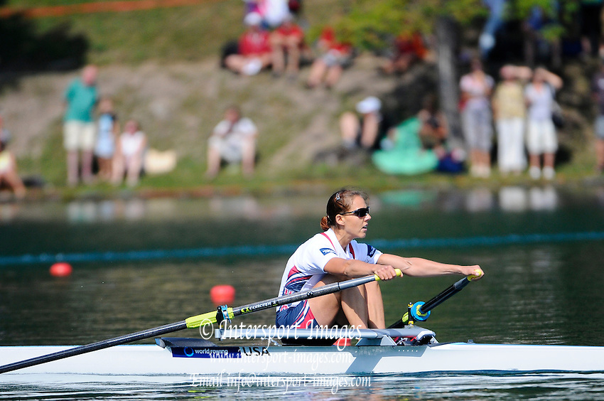 Bled, SLOVENIA. USA LW1X, Ursula GROBLER, Winner SemiFinal A/B 2, 2011 FISA World Rowing Championships, Lake Bled. Thursday  01/09/2011   [Mandatory Credit; Intersport Images]