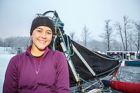 Junior Musher Bailey Schaeffer at Knik during the start of the Junior Iditarod on Saturday February 25, 2017. <br /> <br /> <br /> Photo by Jeff Schultz/SchultzPhoto.com  (C) 2017  ALL RIGHTS RESVERVED