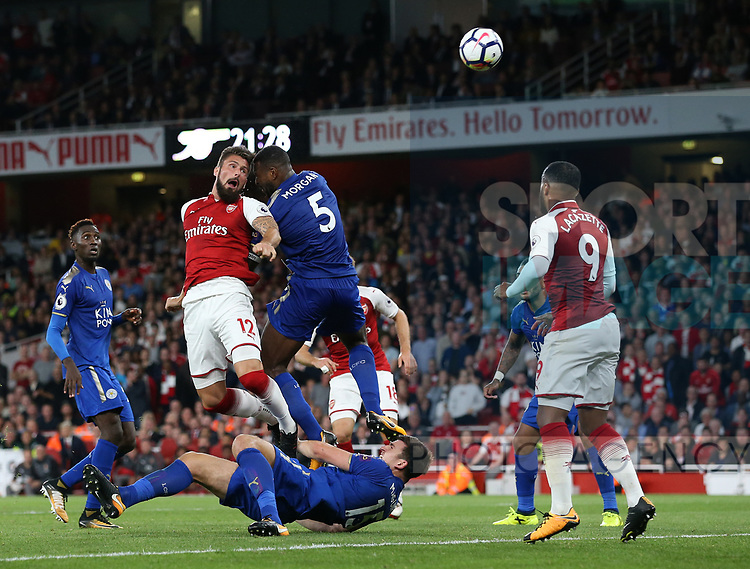 Arsenal's Olivier Giroud scoring his sides fourth goal during the premier league match at the Emirates Stadium, London. Picture date 11th August 2017. Picture credit should read: David Klein/Sportimage