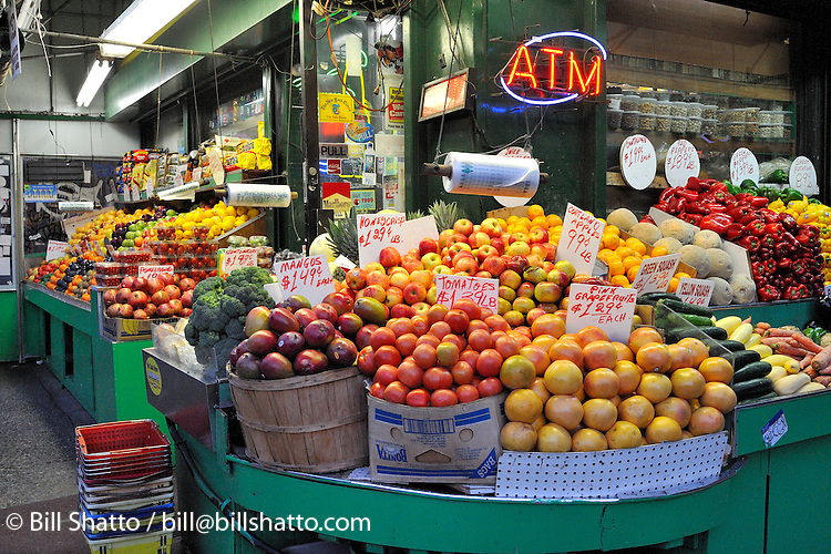 Fruit and vegetables for sale at a New York City grocery store.