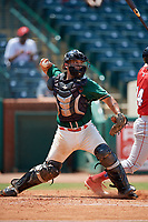Greensboro Grasshoppers catcher Michael Hernandez (17) throws to second base on a stolen base attempt during a game against the Lakewood BlueClaws on June 10, 2018 at First National Bank Field in Greensboro, North Carolina.  Lakewood defeated Greensboro 2-0.  (Mike Janes/Four Seam Images)