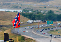 Jul 23, 2017; Morrison, CO, USA; A confederate flag is visible during the NHRA Mile High Nationals at Bandimere Speedway. Mandatory Credit: Mark J. Rebilas-USA TODAY Sports