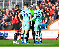Referee Craig Pawson  talks to Shkodran Mustafi of Arsenal right after a foul on Ryan Fraser of AFC Bournemouth during AFC Bournemouth vs Arsenal, Premier League Football at the Vitality Stadium on 25th November 2018
