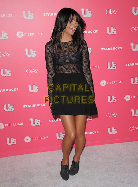 JESSICA SZOHR .at US Weekly Hot Hollywood Style Issue Party held at Eden in Hollywood, California, USA, April 26th 2011..full length dress black sheer see thru through bra long sleeve top skirt lace lace-up booties shoes shooboots  fringe .CAP/RKE/DVS.©DVS/RockinExposures/Capital Pictures.
