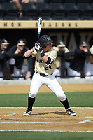 Chris Lanzilli (24) of the Wake Forest Demon Deacons at bat against the Louisville Cardinals at David F. Couch Ballpark on March 18, 2018 in  Winston-Salem, North Carolina.  The Demon Deacons defeated the Cardinals 6-3.  (Brian Westerholt/Four Seam Images)