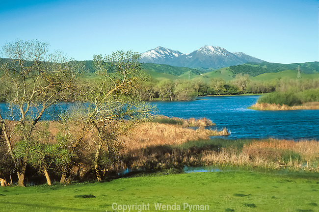 Snow on Mount Diablo and North Peak as viewed in early morning from Marsh Creek Reservoir.