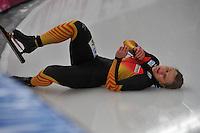 SCHAATSEN: BERLIJN: Sportforum, 06-12-2013, Essent ISU World Cup, 500m Ladies Division A, val Jenny Wolf (GER), ©foto Martin de Jong